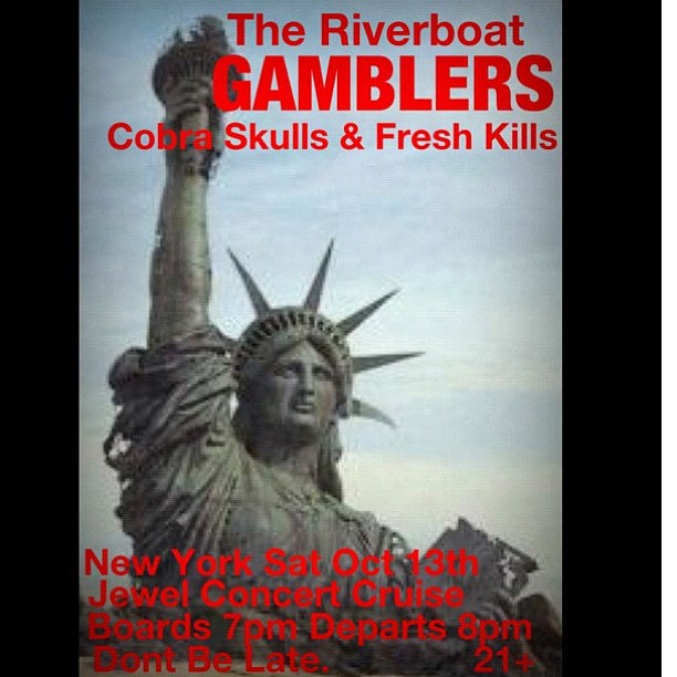 New York!  Gamblers are playing a boat show with Cobra Skulls and Freshkills on Oct 13. Lets do this! $10 all ages.  @riverboatgamblers #gffg @robmarchant @samgambler @rsmw @iantelecasterdeluxe @stevetm_foh #cobraskulls #freshkills #riverboatgamblers